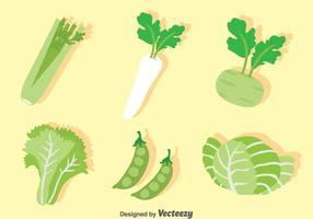 Conjunto de vectores vegetales verdes