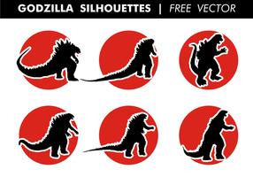 Godzilla Silhouetten Gratis Vector