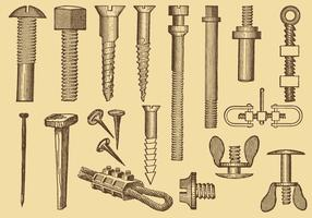 Screw And Nail Drawings vector