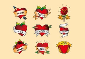 Mom tattoo heart color vertor pack vector