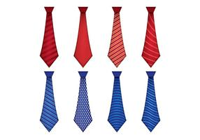 Set Of Blue and Red Tie Cravat Vector