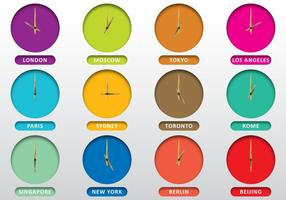 Clocks Of Cities vector