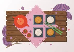 Mooncake Dessert Vector