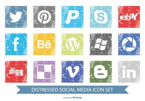 Distressed Social Media Icon Set