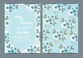 Vector Sky Blue Floral Wedding Invite