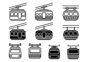 Icone di vettore di funivia