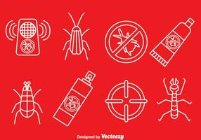 Pest Control Line Icons Vector