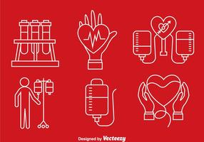 Iconos de línea de donación de sangre