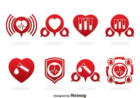 Vettore rosso delle icone di donazione di sangue