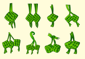Ketupat traditionele voedsel vector pack