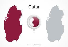 Vector Qatar Flag Map Pointer