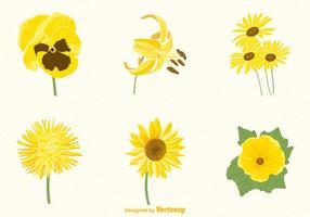 Conjunto de flores amarillas gratis vector