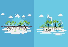 Mangrove trees green flat design