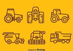 Cosecha, tractores, Colección, vector