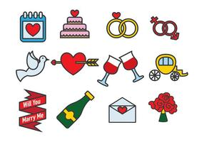 Casar conmigo Vector Icon Pack Vector