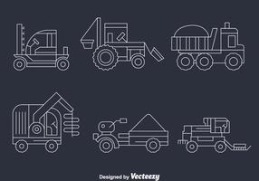 Cosecha, tractores, línea, vector