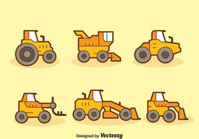 Cartoon Tractors Collection Vector