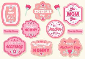 Libre Día de la Madre Badges Vector