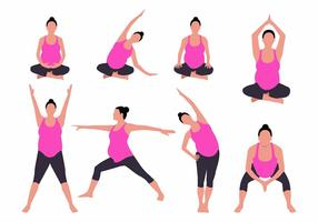 Free Yoga for Pregnant Woman Vector Illustration