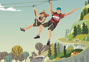 Riding On A Zipline vector