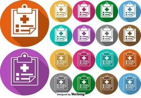 Vektor uppsättning av färgglada knappar med receptbelagda ikonen