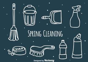 Mano, dibujado, primavera, limpieza, vector