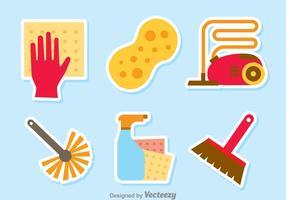 Insieme di vettore degli strumenti domestici di pulizia