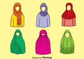 Hand getekende Moslim Hijab Colletion Vector