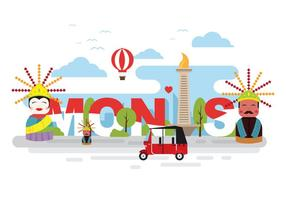 Bright and Fun Monas Illustration