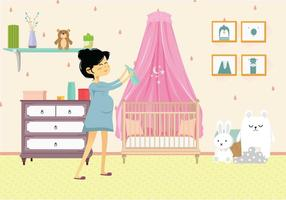 Pregnant Mom in Nursery Illustration