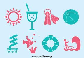 Water park element vector set