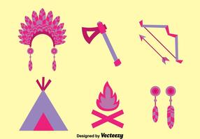 Flat Purple Indian Element Vector Set