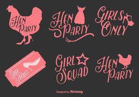 Hen Party Vector Typographic Labels