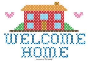 Welcome Home Embroidery Vector Graphic