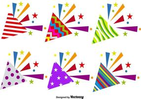 Vector Set Of Party Popper Icons