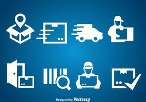 Delivery White Icons Vector