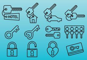 Line Key Icons vector