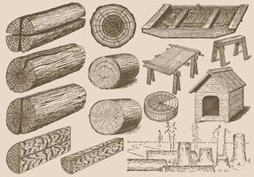 Vintage Wood Logs vector