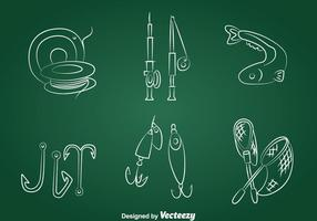 Hand Drawn Fishing Icons Vector