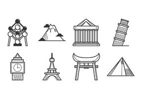 Gratis landmärke av världen ikon vektor