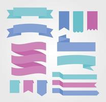 Plana Färgglada Ribbon Sash Banner Vektorer
