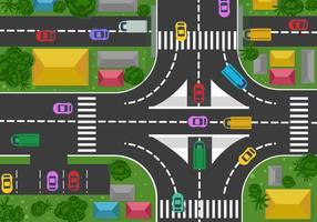 Auto's en Street View Vector van hierboven