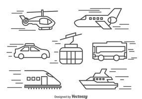Iconos De La Línea De Transporte Vector