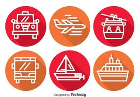 Transport Lange Schatten Icons
