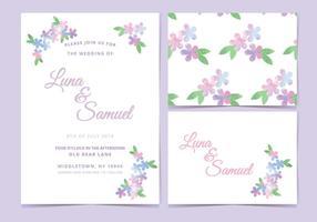 Invitation de mariage de vecteur lilas rose