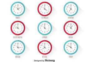 Ensemble vectoriel du fuseau horaire mondial