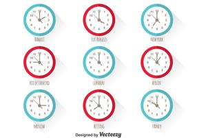World Time Zone Vector Set