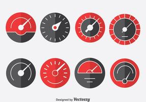 Tachometer Indicator Icons Set vector