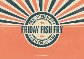 Ilustração retro da sexta-feira da fritada de peixe