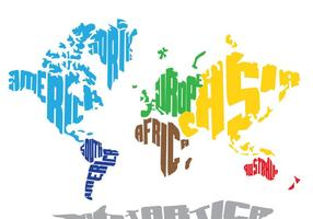 Bright World Word Map vector